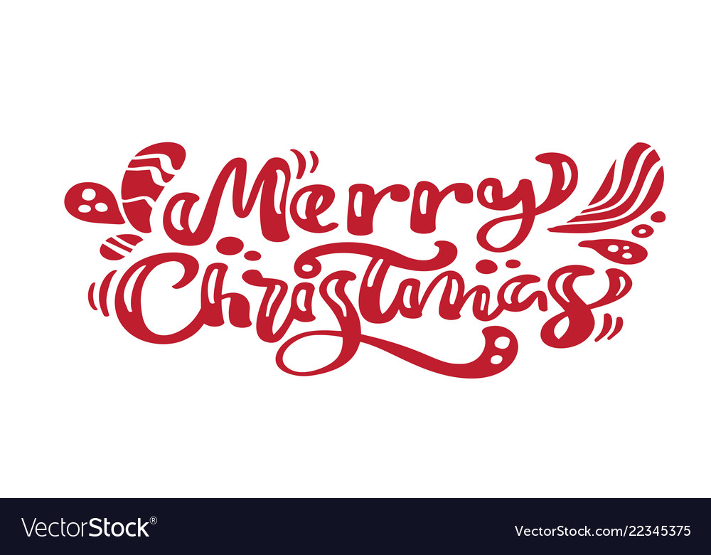 Merry Christmas Calligraphy.Merry Christmas Red Vintage Calligraphy Lettering
