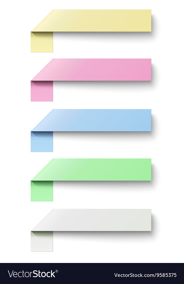 Oblong sticky notes isolated on white background vector image