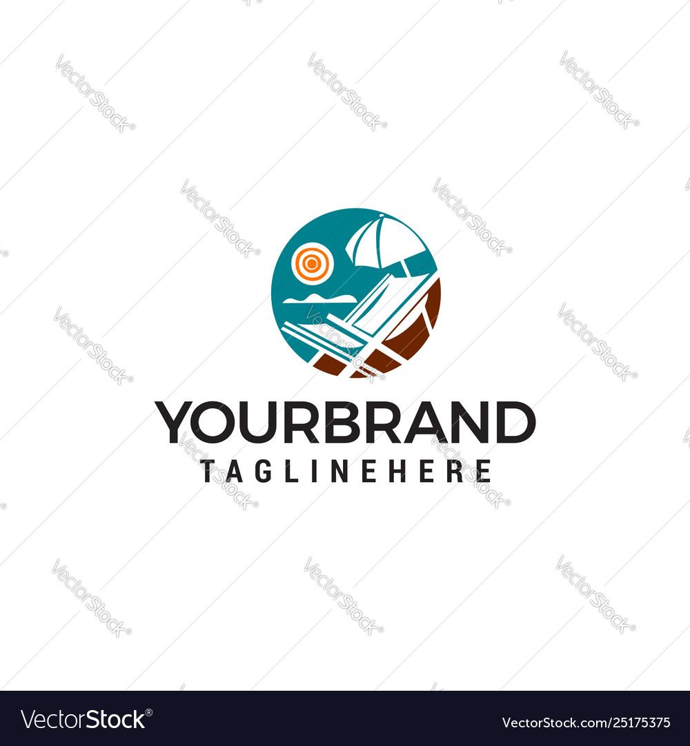 Panoramic summer sea logo design concept template