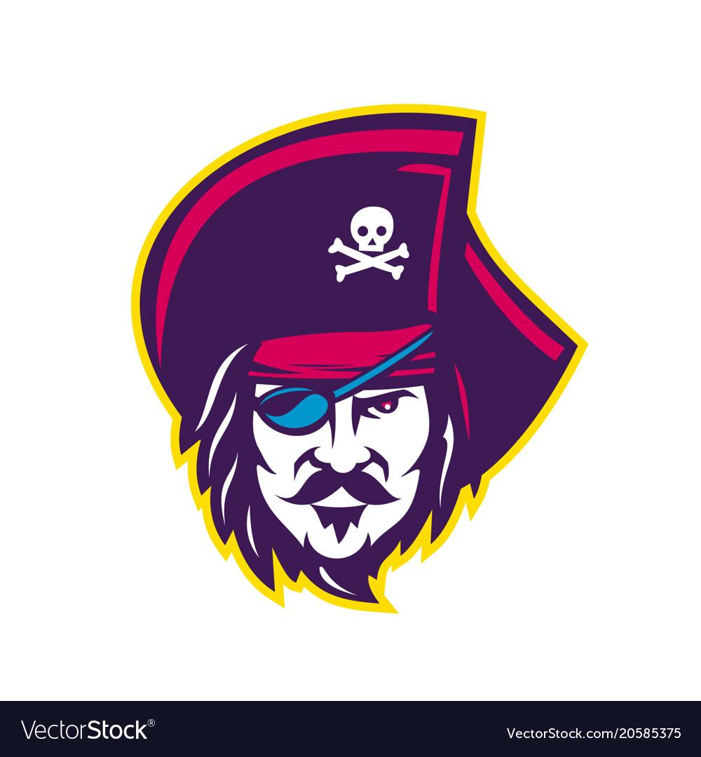 Privateer pirate head mascot