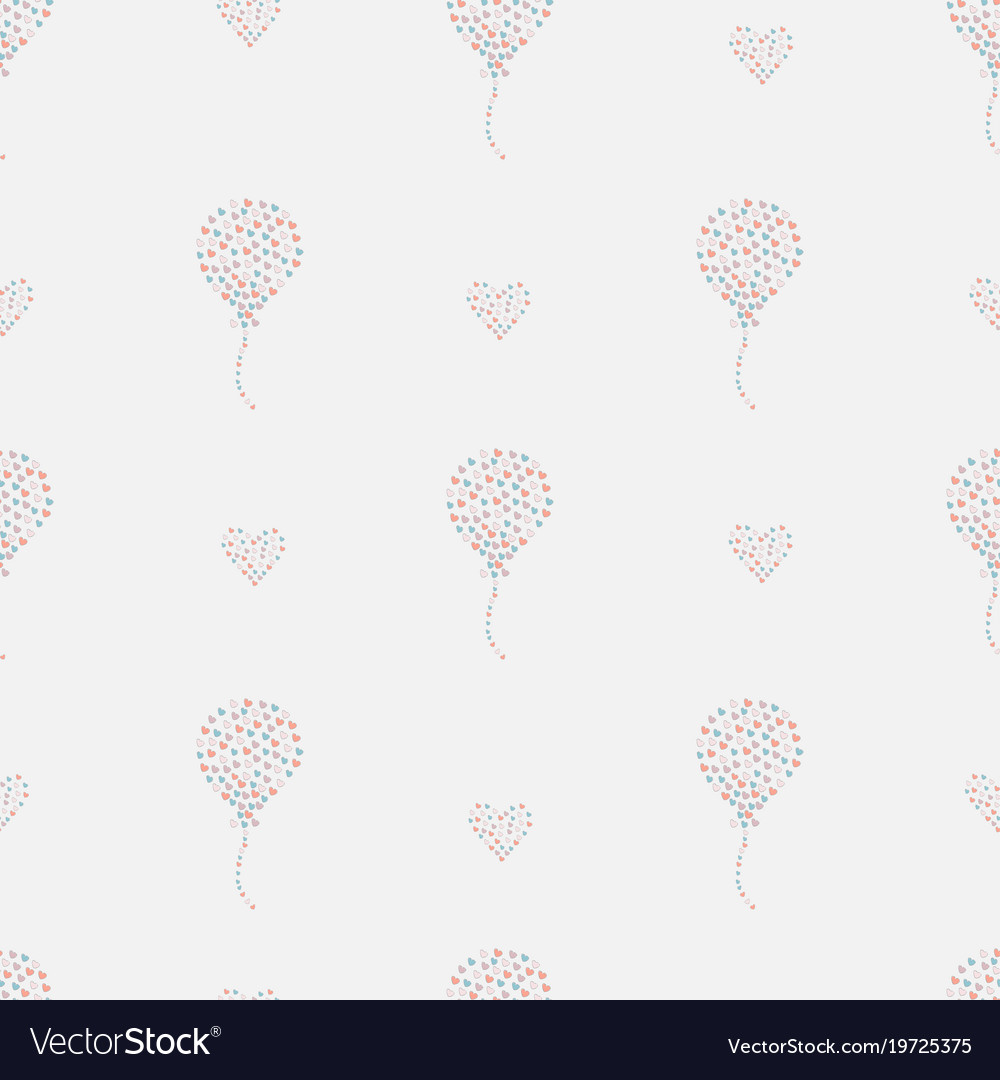 Seamless pattern hand drawn hearts in brush