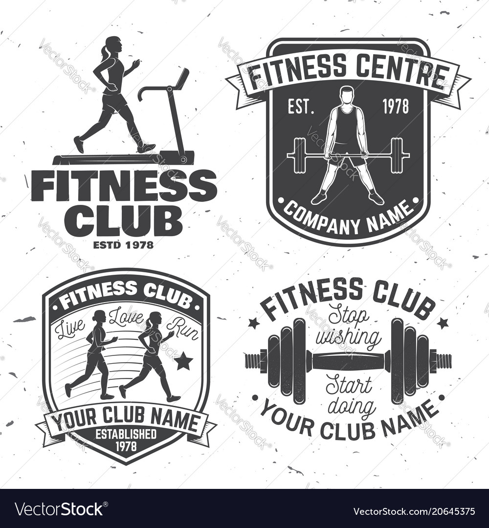 Set of fitness club badges concept for