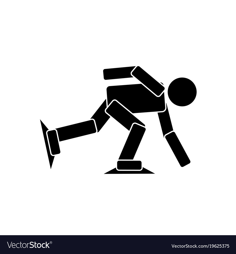 Short track speed skating athlete icon vector image