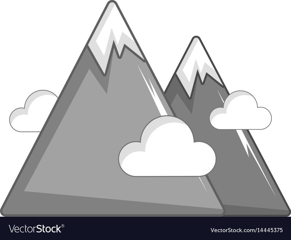 Snowy mountains icon cartoon style vector image