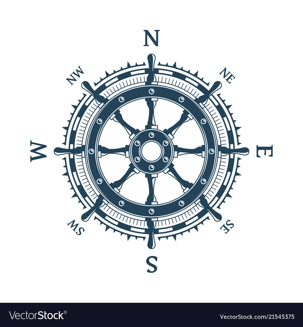 Wind rose and helm wheel