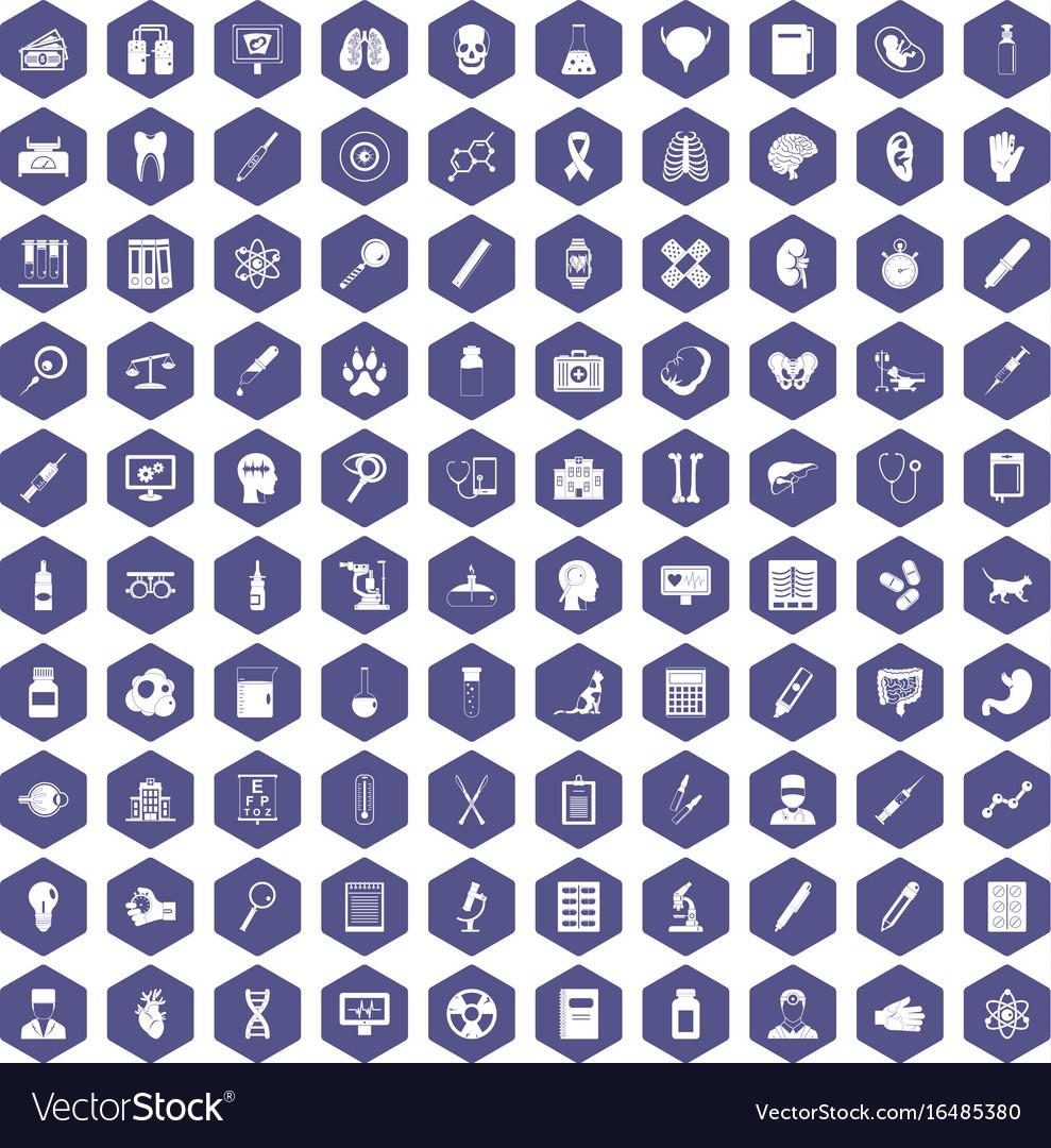 100 diagnostic icons hexagon purple vector image