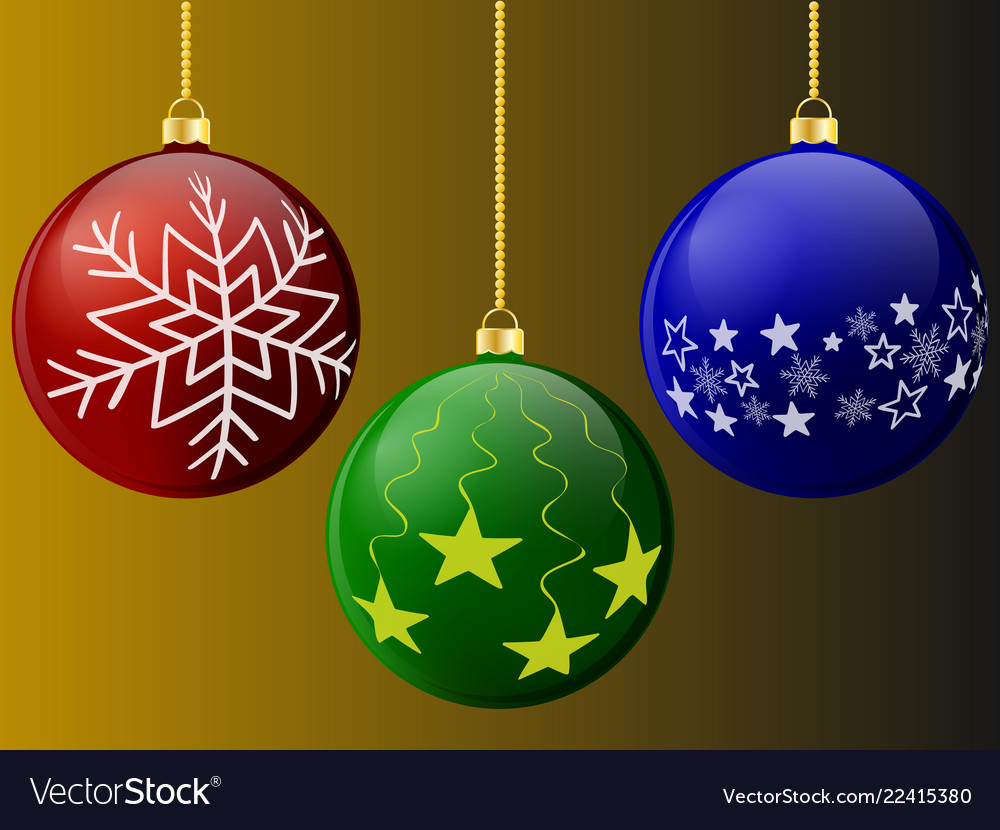 Christmas balls of red green and blue with pattern