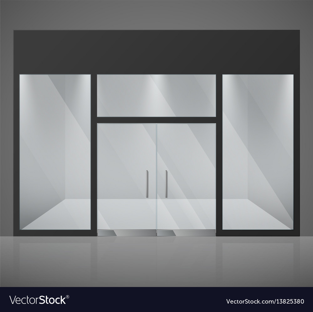 Stylish Design House Big Glass Windows Stock Photo: Empty Fashion Store Shop With Big Glass Window Vector Image