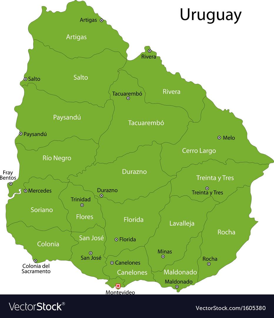 Green Uruguay map vector image