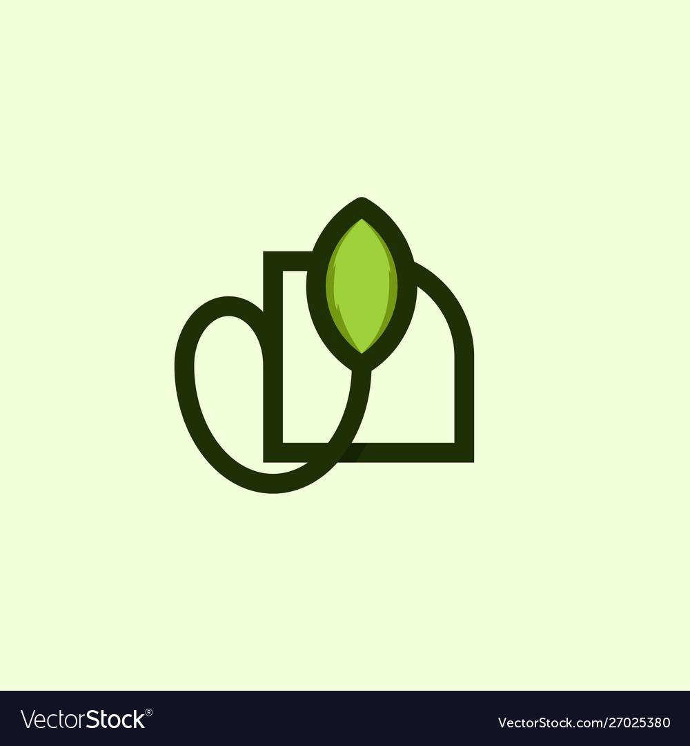 Leaf outline minimalist naturally logo