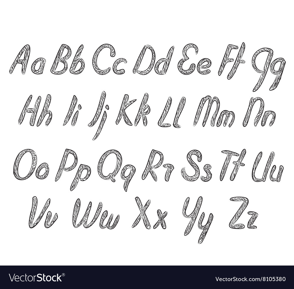 Letters of the alphabet written