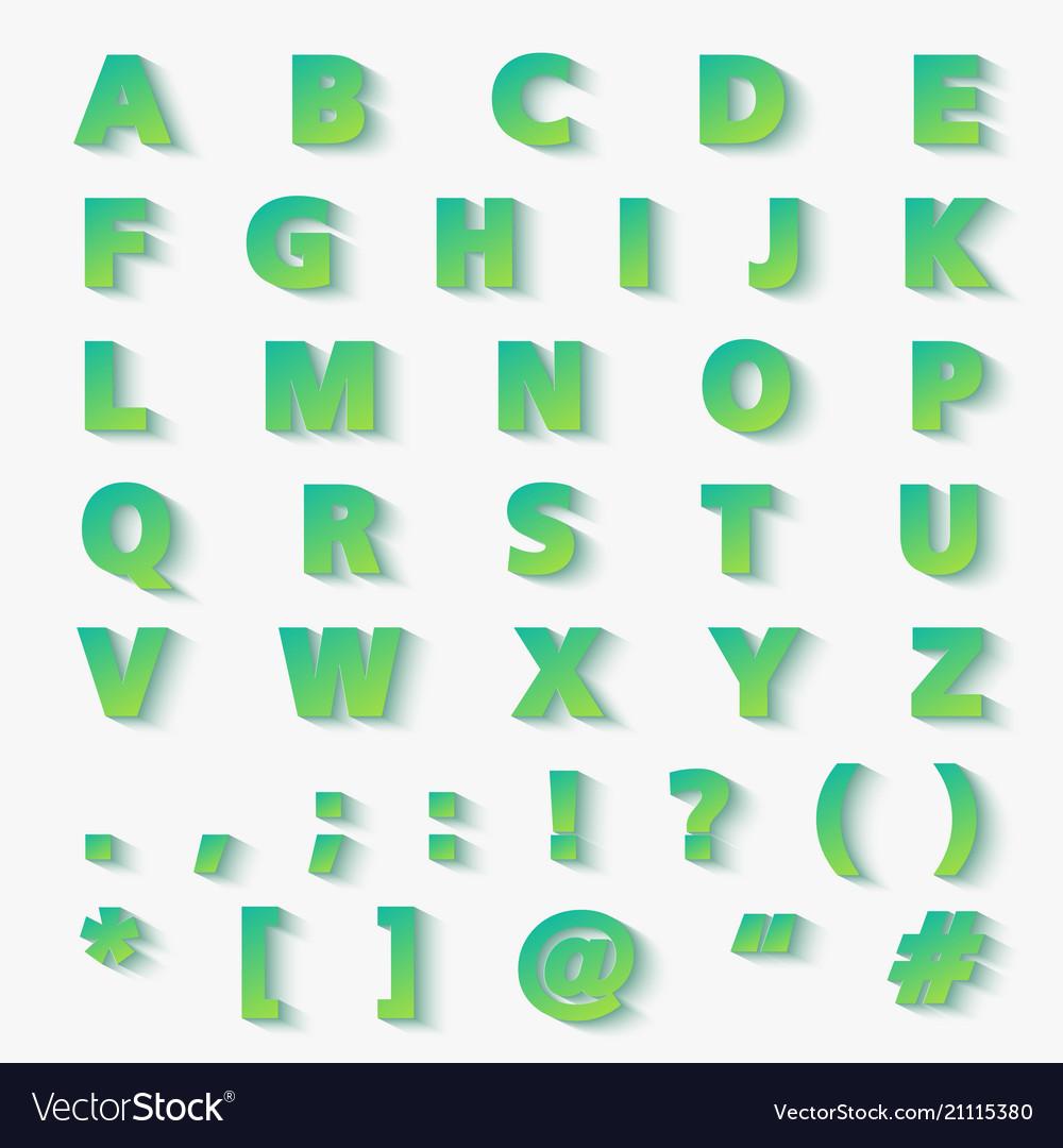 Modern gradient paper cut alphabet letters