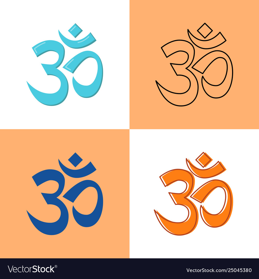 Om aum symbol icon in flat and line style