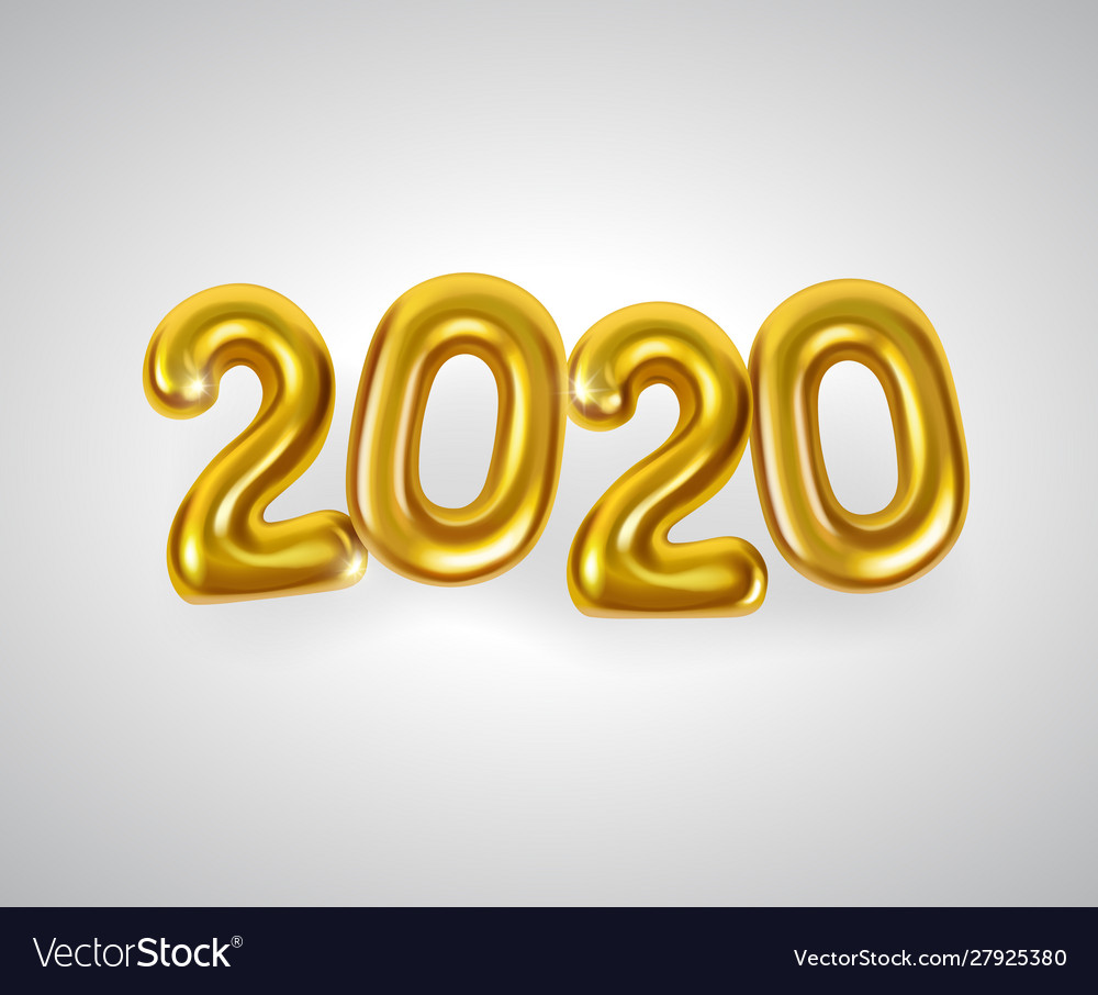 Realistic golden numbers or balloons 2020