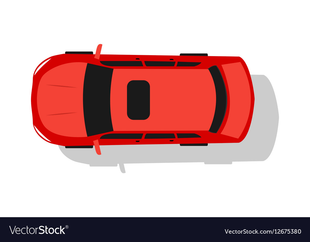 Red Car Top View Flat Design vector image