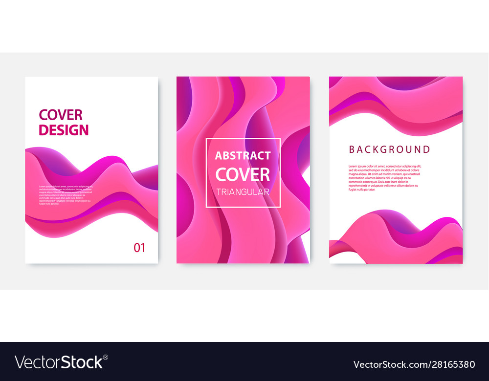 Set abstract wavy banners brochures