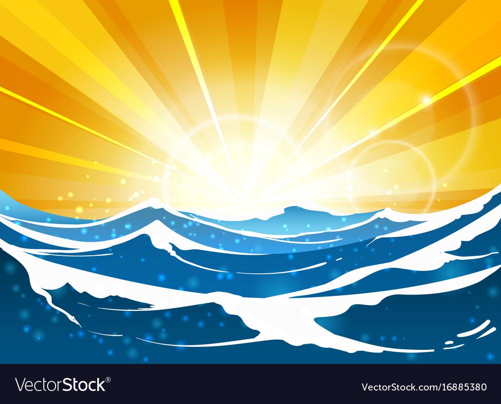Shiny sun seascape for travel poster