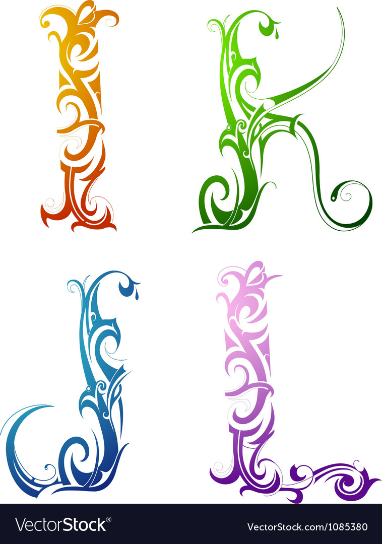 Tribal Tattoo Letters Royalty Free Vector Image border=