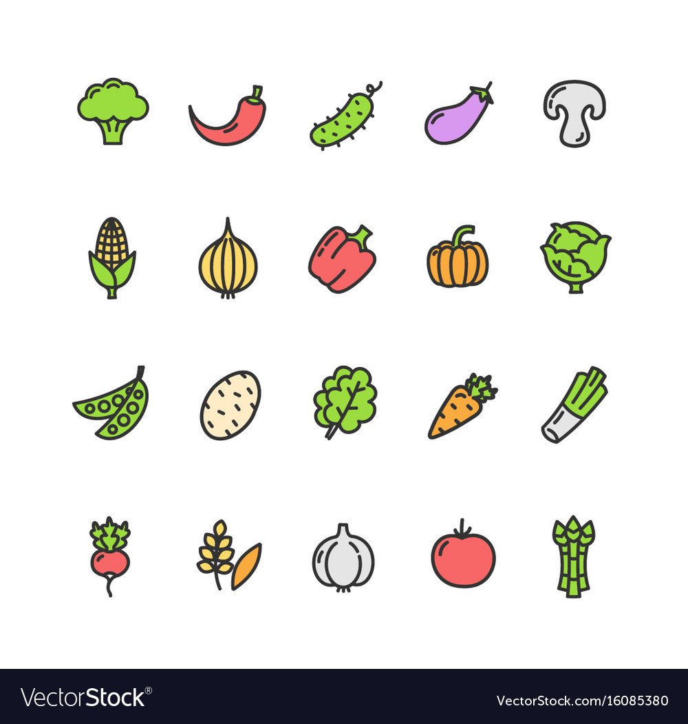 Vegetables food color thin line icon set