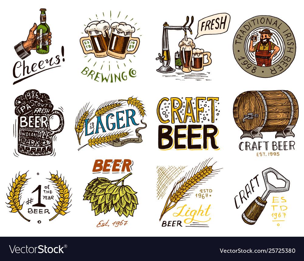 Vintage beer badge set alcoholic label with