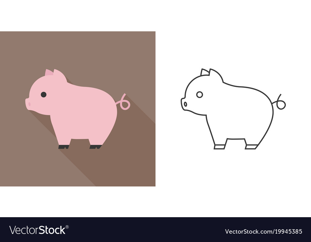 Cute pig icon flat and outline design