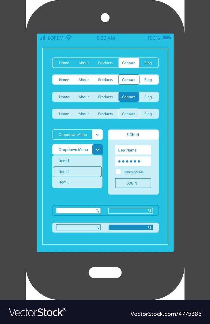Flat ui design smartphone mobile app template vector image