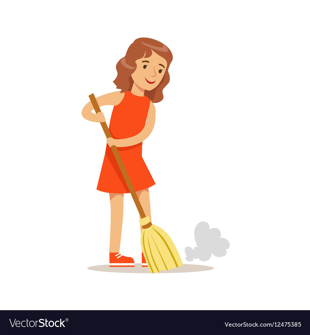 Girl Sweeping The Floor With The Broom Smiling