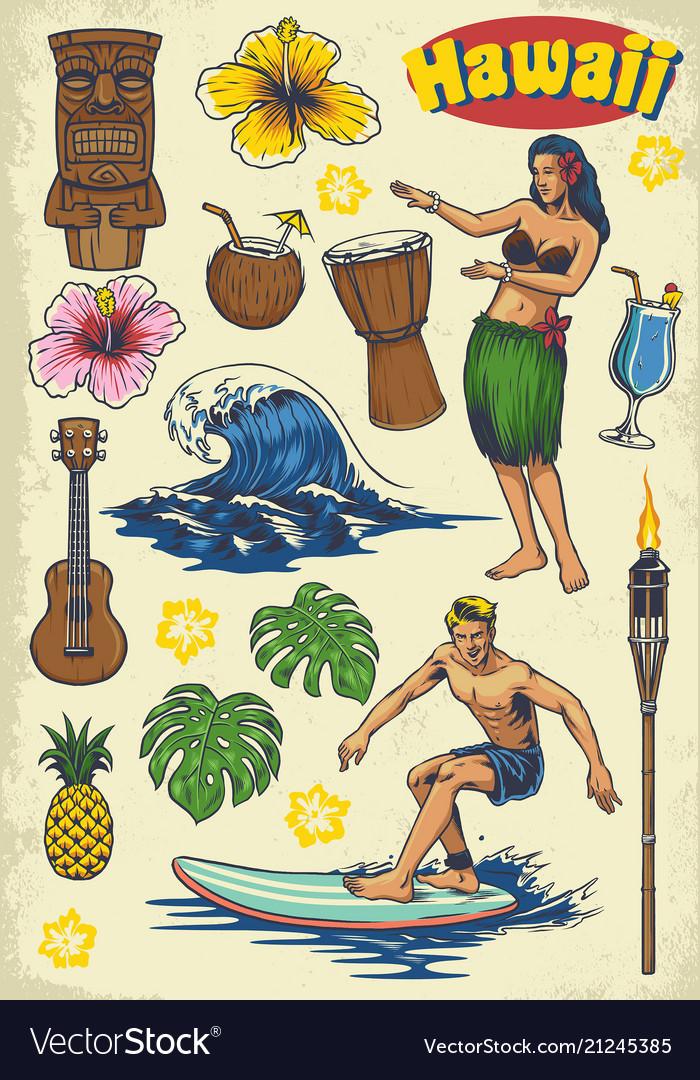 Hand drawing hawaii concept retro set