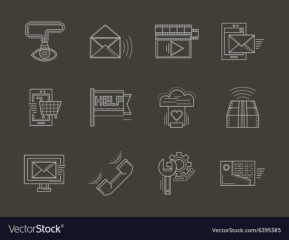 Internet services white line icons set