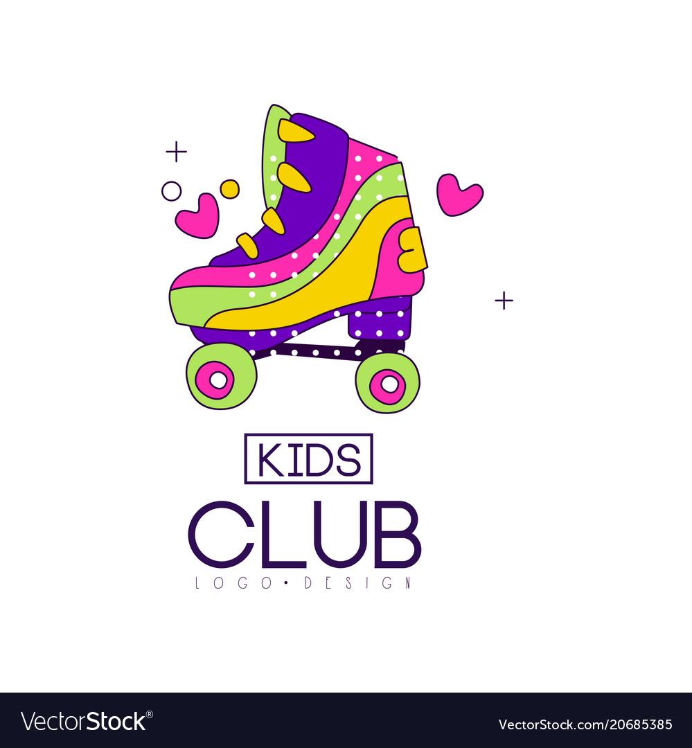 Kids club logo design bright badge for vector image