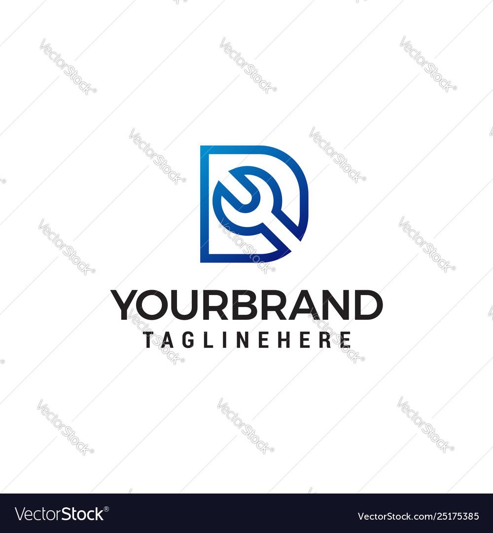 Letter d wrench logo design concept template
