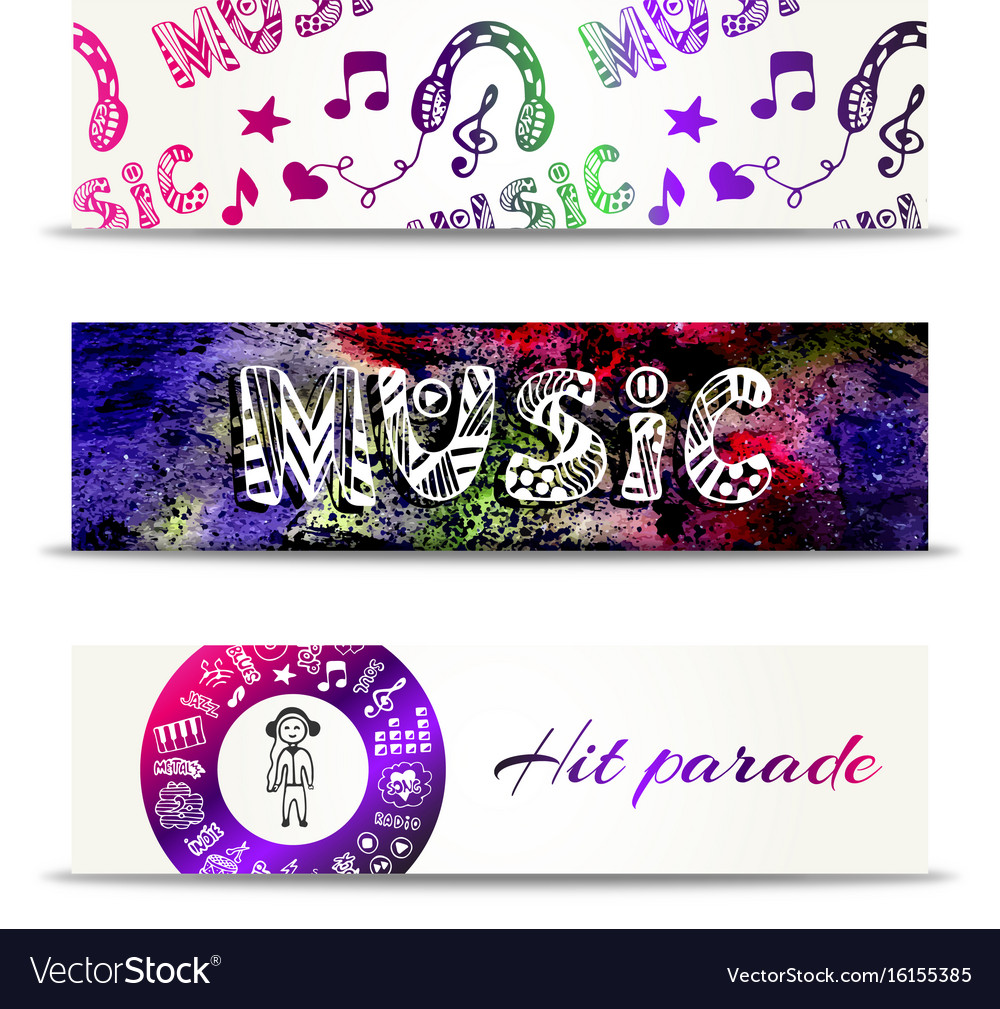 Music banners template with doodle lettering and