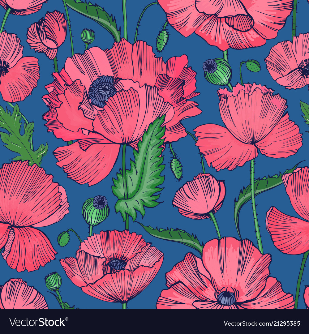 Natural seamless pattern with beautiful blooming