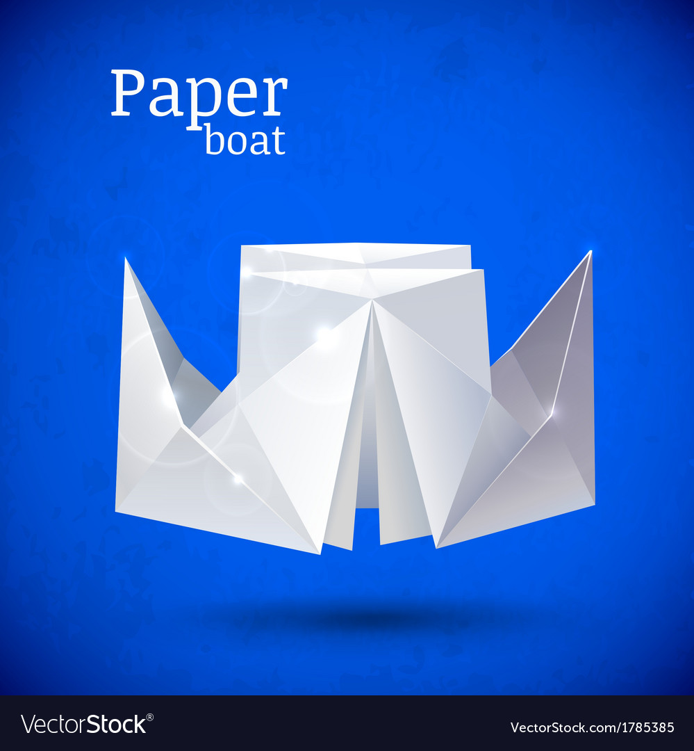 Origami paper blue boat
