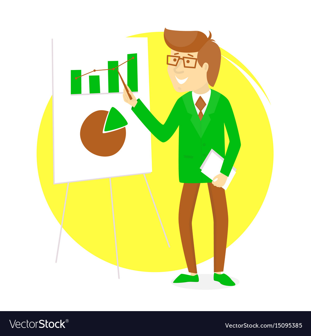 Presentation with businessman and board with vector image