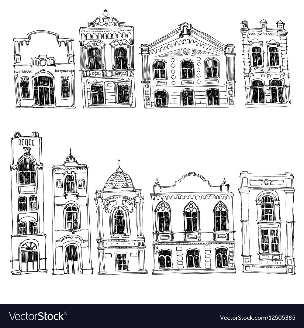 Set of different houses