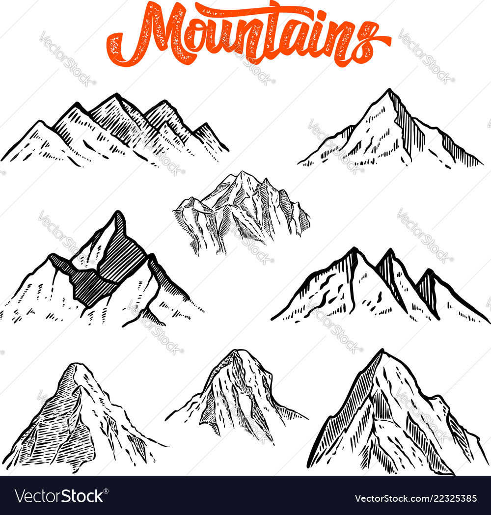 Set of hand drawn mountain design element for