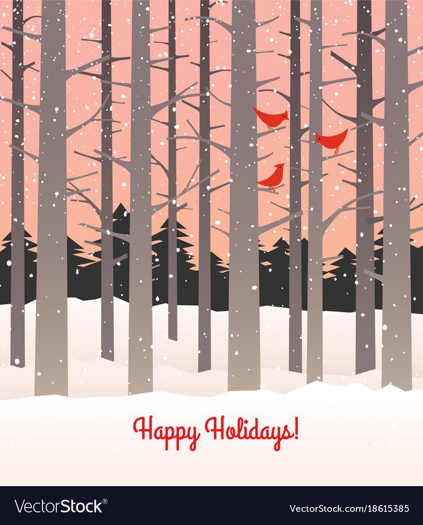 Woods in winter with falling snow and cardinals vector image