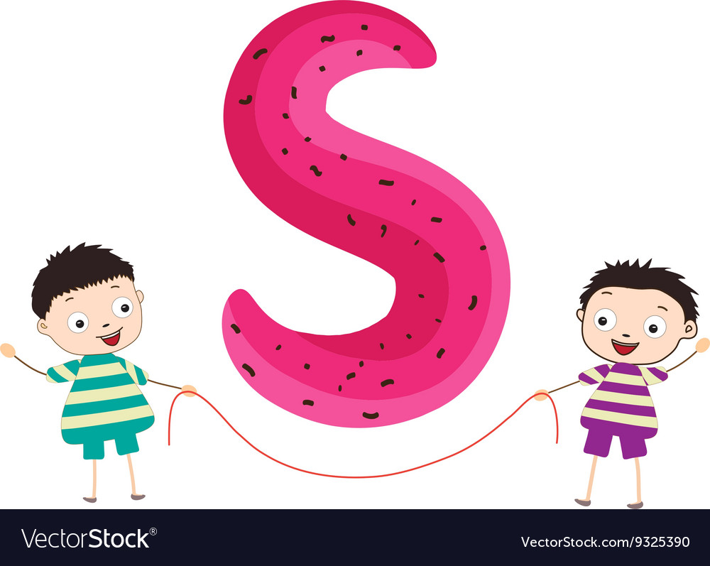A Kid Leaning on a Letter S Royalty Free Vector Image