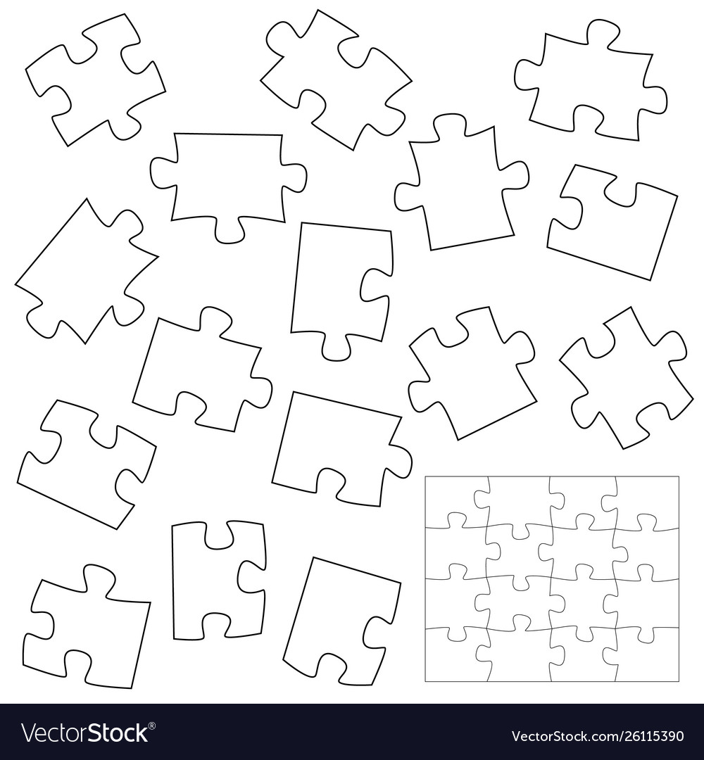 A lot piece puzzle elements template in flat