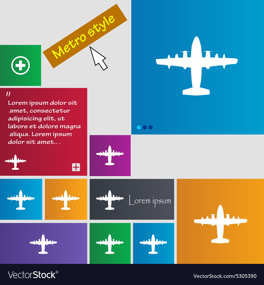 Aircraft icon sign buttons Modern interface