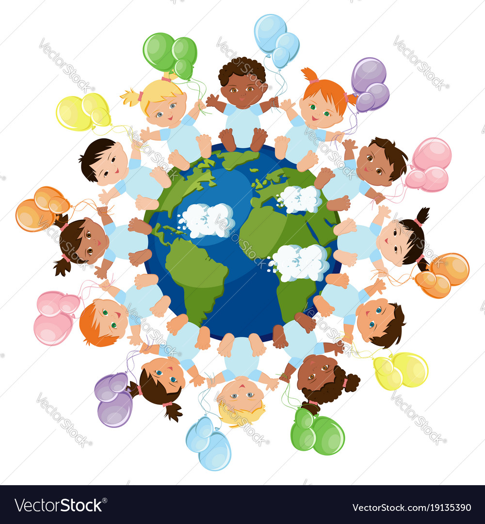 Babies around the earth vector image