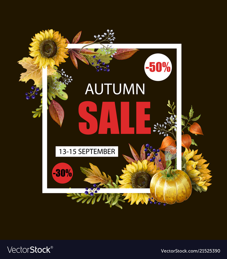 Banner of autumn sale with yellow leaves