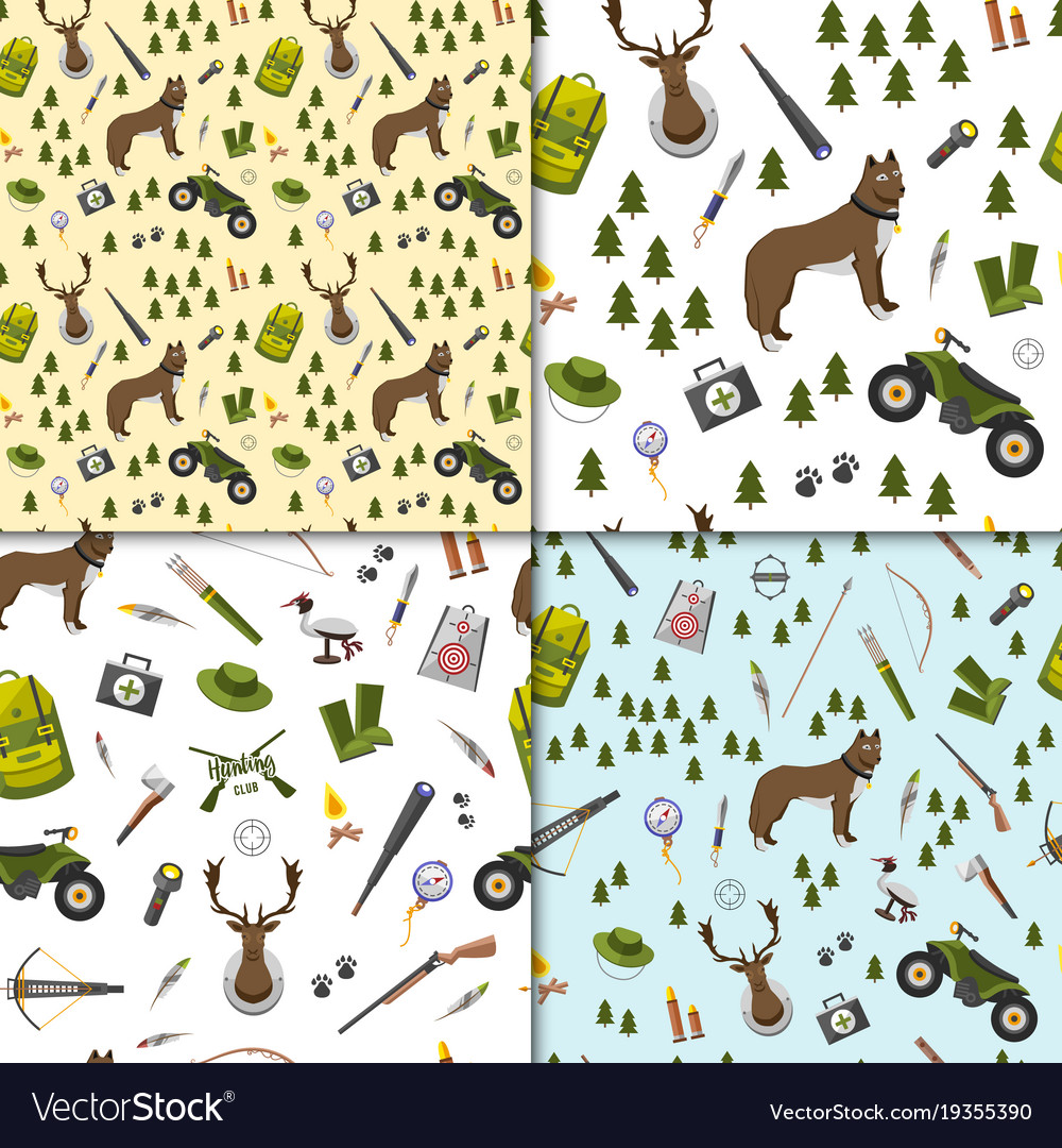 Camping trip seamless pattern set accessories and