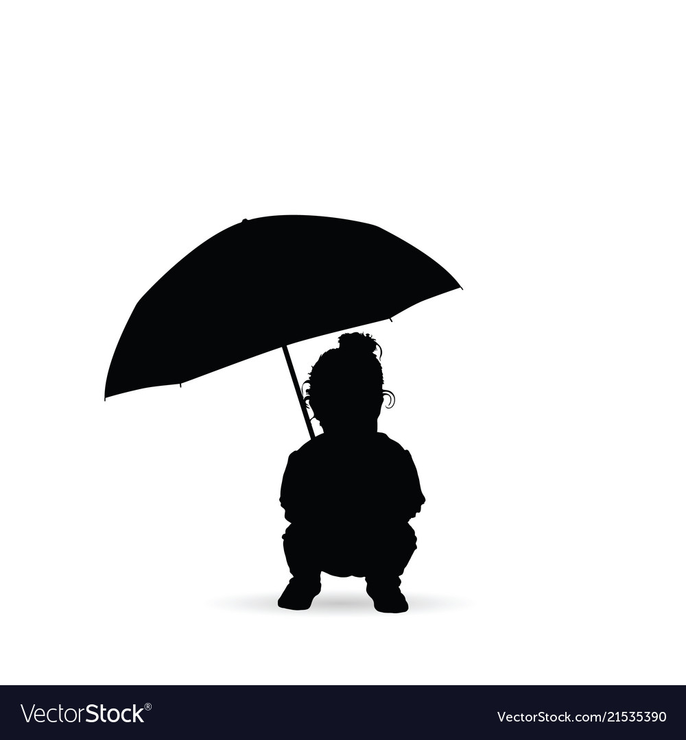 b00fa47d8183b Child seizes and holds the umbrella silhouette Vector Image
