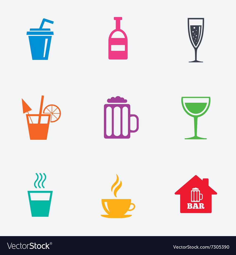 Coffee tea icons Alcohol drinks signs
