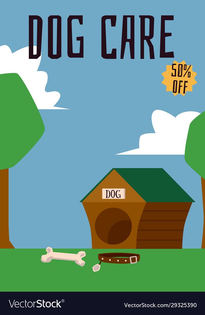 Dog care header and doghouse on landscape