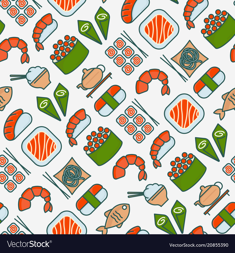 Japanese food seamless pattern with thin line icon