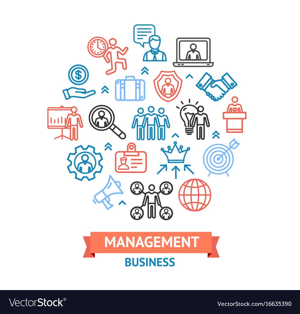 Management business color round design template