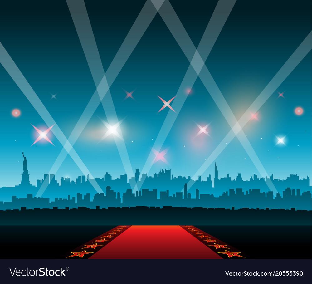 New-york city movie red carpet movie theater vector image